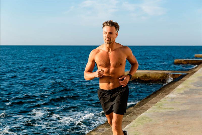 hombre corriendo abdomen